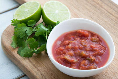 salsa sauce with lime and cilantro