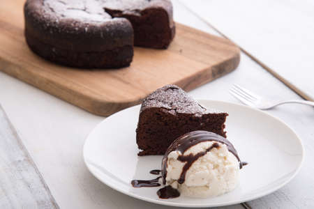 chocolate cake with ice cream Stock Photo
