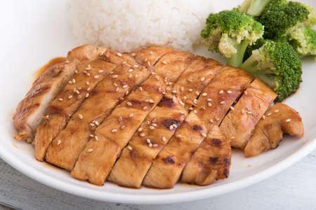 Teriyaki chicken with rice and broccoli Stock Photo