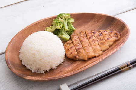 teriyaki chicken with rice and broccoli