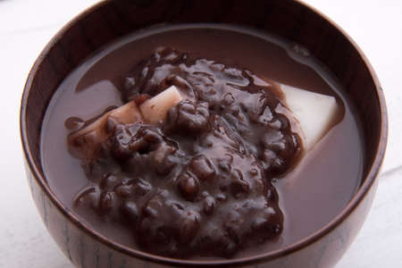 japanese rice cake with sweet red beans Stock Photo