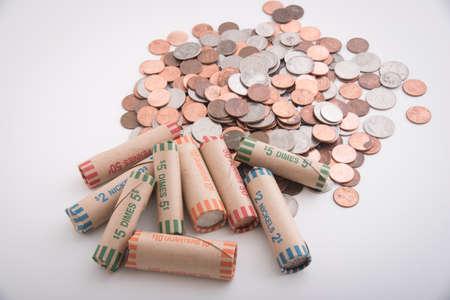 american coin rolls Stok Fotoğraf - 104349748