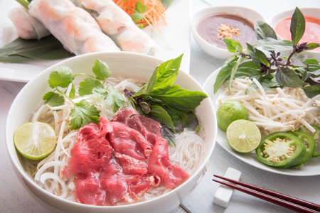 beef pho with summer roll Stok Fotoğraf