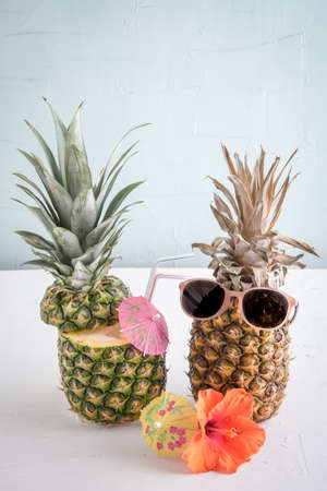 pineapple cocktail with sunglasses