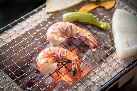 Grilled shrimp Yakiniku, japanese bbq