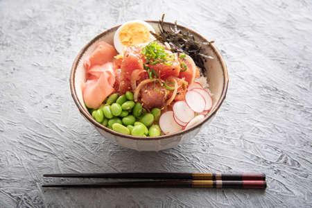 ahi poke bowl with edamame