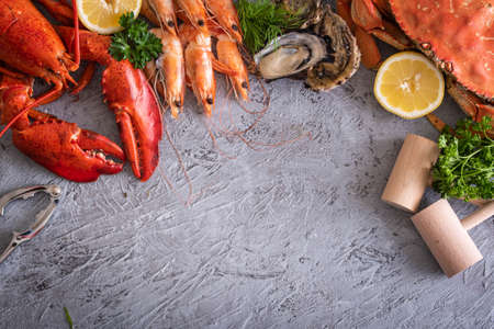 assorted seafood image with copyspace