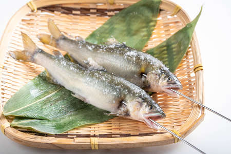 Ayu, salted japanese sweet fish with skewer