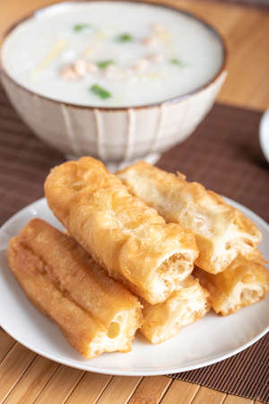 chinese bread stick with congee, chay quay