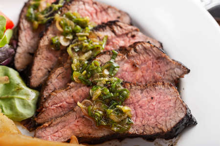 grilled tri tip steak with green onion sauce