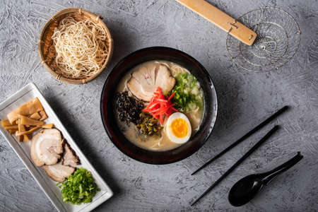 authentic japanese tonkotsu ramen noodle from top view