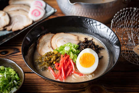 japanese authentic pork bone broth ramen
