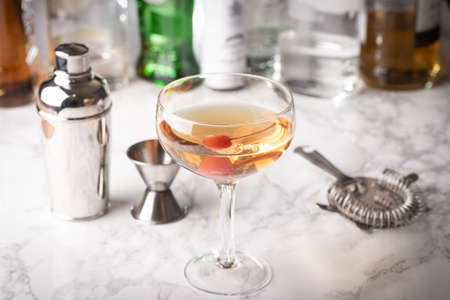 classic cocktail, manhattan on marble background
