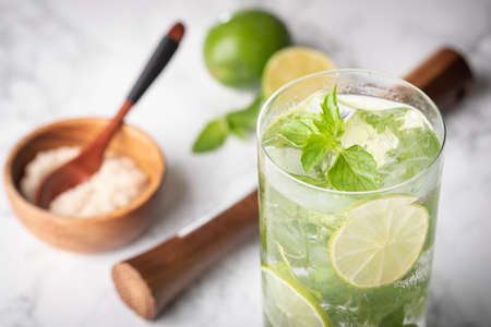 classic mojito on marble background