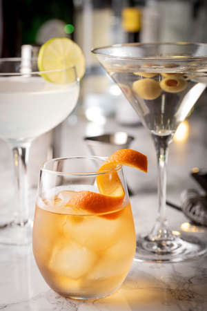 classic cocktails, old fashioned, daiquiri and martini Reklamní fotografie
