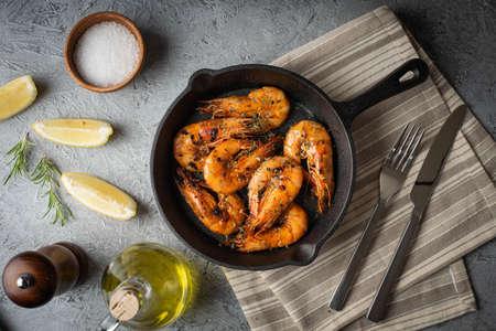 grilled shrimp on cast iron pan