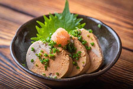 japanese Ankimo, monkfish liver with ponzu sauce Reklamní fotografie