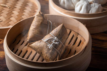 traditional chinese sticky rice dumpling with pork and mushroom