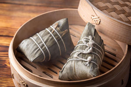 traditional cantonese style sticky rice dumpling