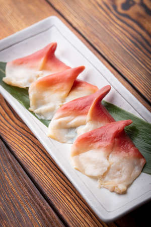 hokkigai, japanese surf clam for sushi
