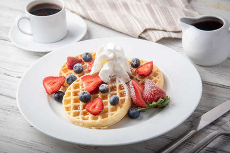 breakfast waffle image with coffee  Banque d'images