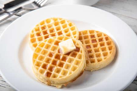 breakfast waffle image with coffee  版權商用圖片
