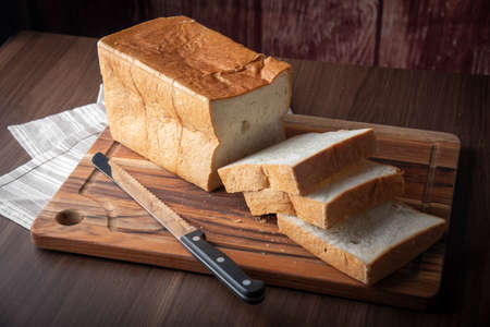 shoku-pan, thick cut japanese plain bread Stock Photo