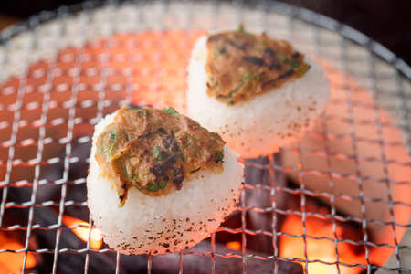 Miso Yaki-Onigiri, japanese grilled rice balls with green onion and miso paste