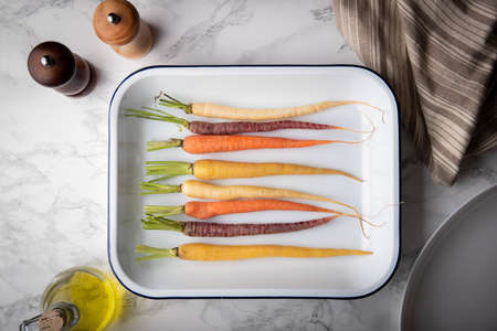 grill colorful carrot image on pan Zdjęcie Seryjne