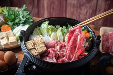 Sukiyaki, japanese famous beef hot pot