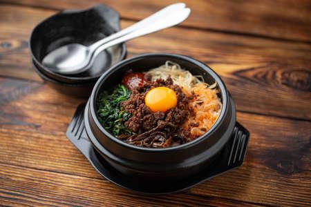 korean famouse hot stone bowl bibimbap