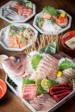 Sashimi arranged in the original shape of red snapper