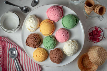 assorted scoopes of ice cream on plate