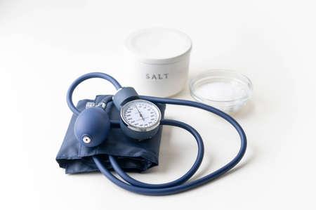 high blood pressure image, salt and sphygmomanometer