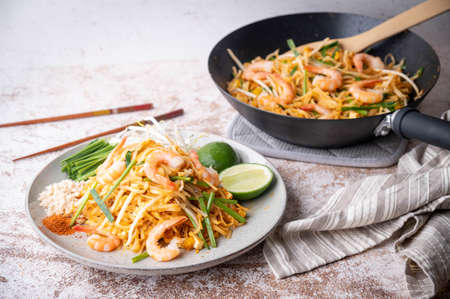 pan fried shrimp pad thai with lime