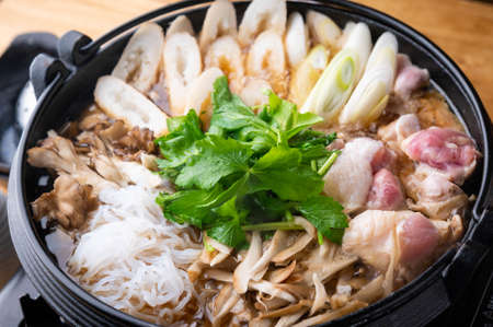 Kiritanpo Nabe japanese Akita style rice cake in chicken hot pot