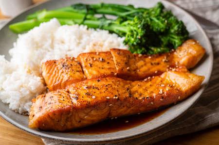 salmon teriyaki with rice and boiled broccolini