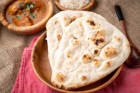naan with curry, traditonal indian bread