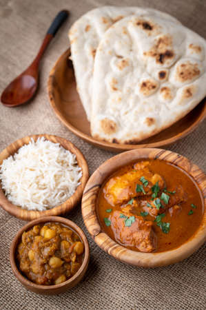 channa masala with butter chicken curry