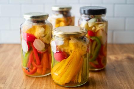 homemade pickled vegetable in jar 免版税图像