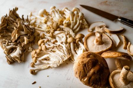 mushrooms on wooden board, oyster mushroom, shimeji, shitake