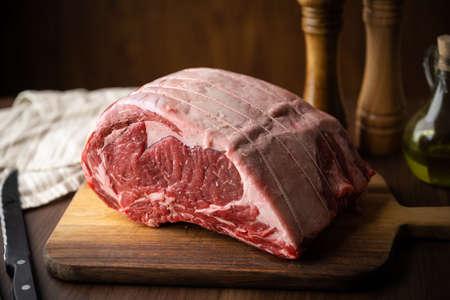 huge big block of ribeye beef steak