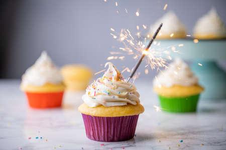 cupcake with sparkler for celebration