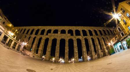 long lasting: Aqueduct in Segovia, Spain, at night. Stock Photo