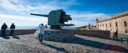 calibre: A retired large calibre gun now makes a fine tourist  display on a Spanish coastal castle.