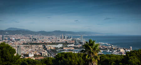 vistas: Barcelona vistas, a view over top of the city, off into the Spanish coastal mountains Stock Photo