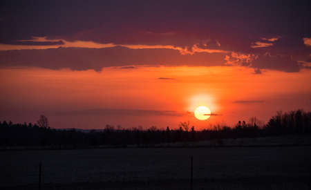 revealing: Early Sun up in Pembroke County and Ottawa Valley. Stock Photo