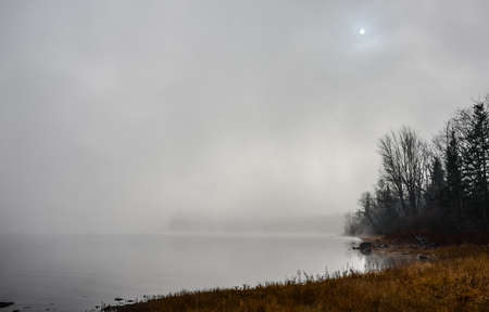 Reflections on water of forest with dense fog with diffused bright sunlight on Ottawa River.  Rocks, trees enveloped by fog, bright diffusion, mid-morning sunrise.