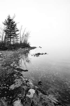 enveloped: Dense fog with diffused bright sunlight on Ottawa River.  Rocks, trees enveloped by fog, bright diffusion, mid-morning sunrise.