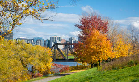 trestle: Prince of Wales railway trestle appears from behind trees, passes over pededstrian walkway along Ottawa River.  Tall buildings, condominiums comprise Ottawa city skyline.  Clear autumn afternoon clouds on horizon hillside view from parkway.